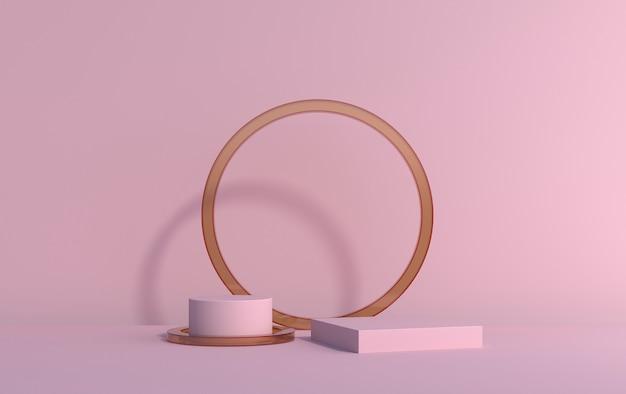 Scène 3d à partir de plates-formes de démonstration de produit sur un fond rose, rendu 3d