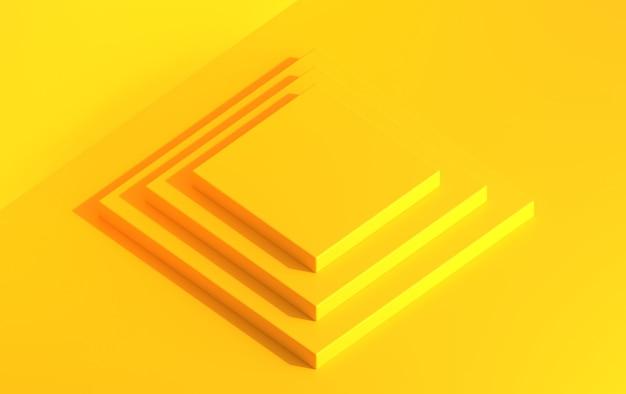 Scène 3d avec un podium carré pour démonstration de produit en projection isométrique, rendu 3d