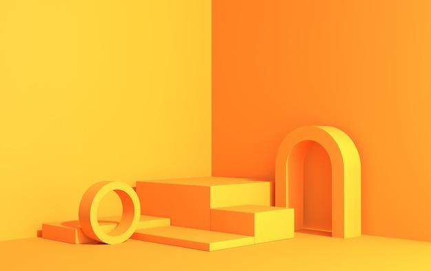 Scène 3d avec podiums pour démonstration de produit dans un style art déco, vue d'angle en couleurs jaunes, rendu 3d