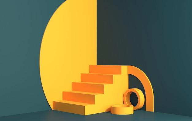 Scène 3d pour démonstration de produit dans un style art déco, dans des couleurs vertes et jaunes, rendu 3d