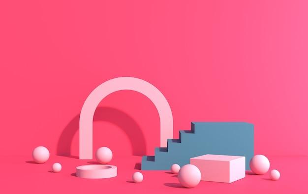 Scène 3d pour démonstration de produit dans un style art déco, sur fond rose, rendu 3d