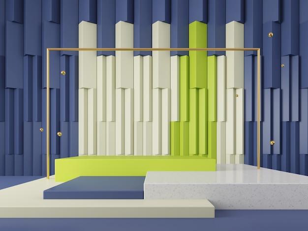 Scène 3d vitrine abstrait géométrique toile de fond couleur ton concept rendu 3d