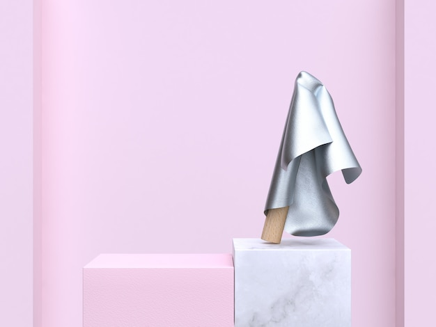 Scène abstraite 3d rendu 3d mur rose