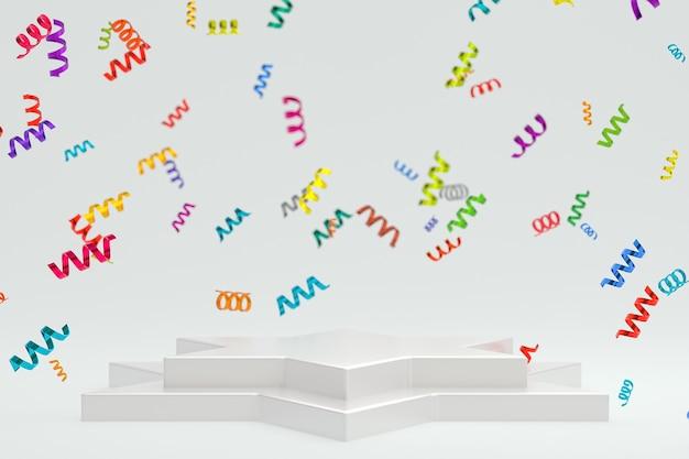 Scène abstraite fond blanc rendu 3d avec podium blanc, confettis et rubans multicolores pour festival