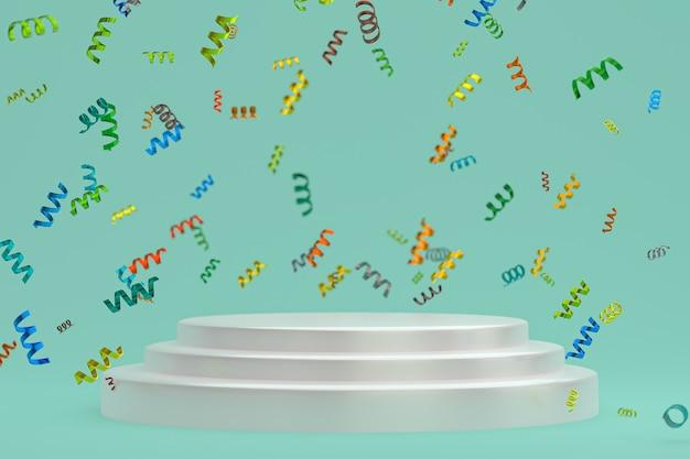 Scène abstraite fond geen rendu 3d avec podium blanc, confettis et rubans multicolores pour festival
