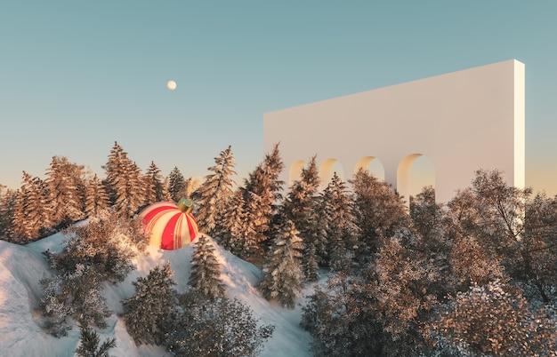 Scène abstraite de la forêt d'hiver. scène de vacances de noël