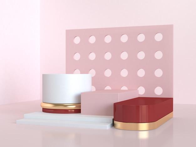 Scène abstraite géométrique rose rouge rendu 3d