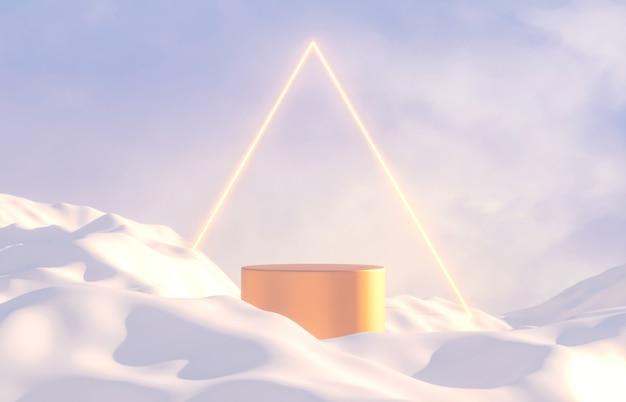 Scène abstraite de paysage d'hiver avec support de produit et néon