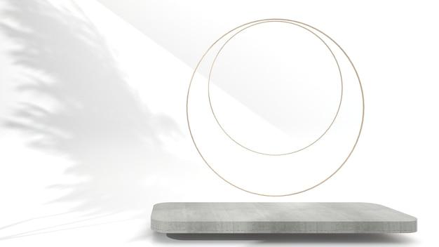 Scène d'affichage en béton géométrique abstraite minimaliste pour la présentation du produit sur fond blanc, rendu 3d, illustration 3d