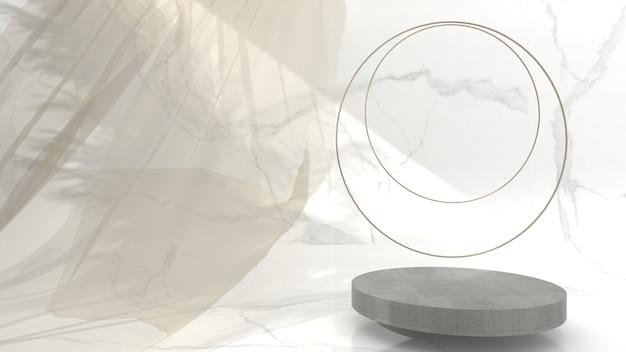 Scène d'affichage en béton géométrique abstraite minimaliste pour la présentation du produit sur fond crème, rendu 3d, illustration 3d