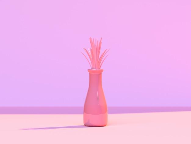Scène d'arbre de mur de scène de scène de rose abstrait minimal rose / pot 3d rendu