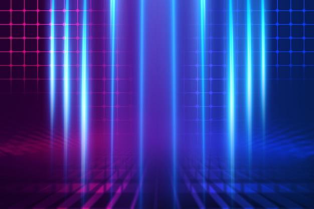 Scène d'arrière-plan vide. réflexion de la rue sombre sur l'asphalte humide. rayons de néon dans l'obscurité, formes néon, fumée. contexte d'un spectacle sur scène vide. abstrait fond sombre.