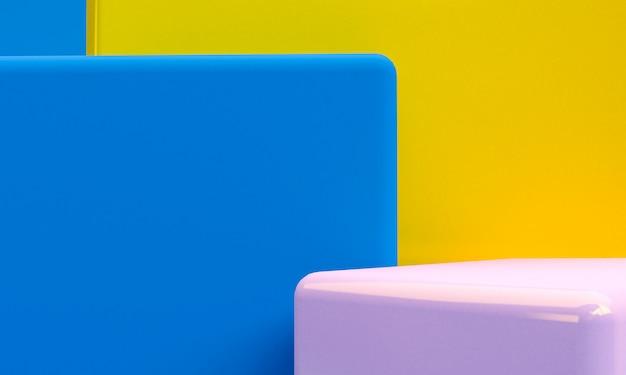 Scène aux formes géométriques, abstrait minimal, rendu 3d