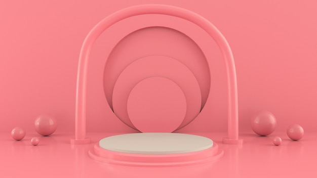 Scène aux formes géométriques, arcade avec podium aux couleurs pastel, plateforme pastel, rendu 3d