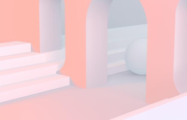 Scène aux formes géométriques voûtée avec un podium