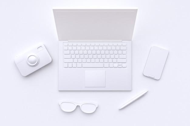 Scène blanche abstraite ordinateur portable caméra lunettes stylo téléphone intelligent