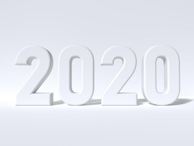 Scène blanche minimal 2020 numéro de type de rendu 3d