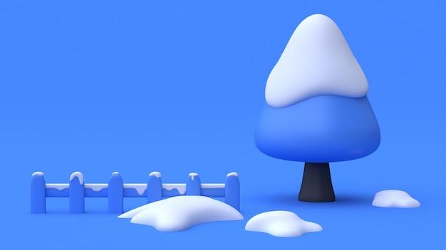 Scène bleue barrière de neige arbre abstrait style de dessin animé minimal 3d render nature hiver concept
