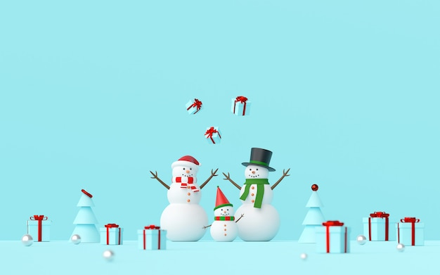 Scène de bonhomme de neige célébrer les cadeaux de noël sur fond bleu, rendu 3d