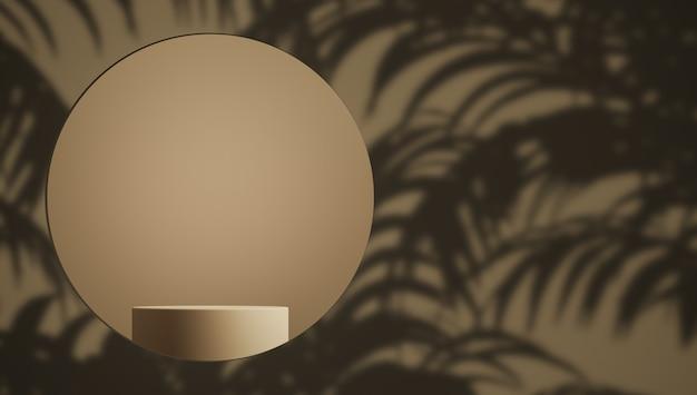 Scène brune abstraite et podium pour la marque et la présentation du produit le premier plan est circulaire et il y a une ombre de la plante