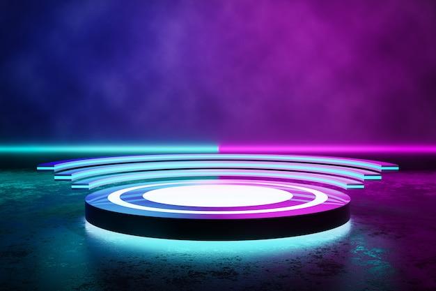 Scène circulaire avec fumée et néon