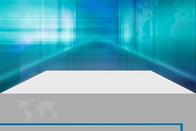 Scène de compteur 3d devant fond de haute technologie numérique