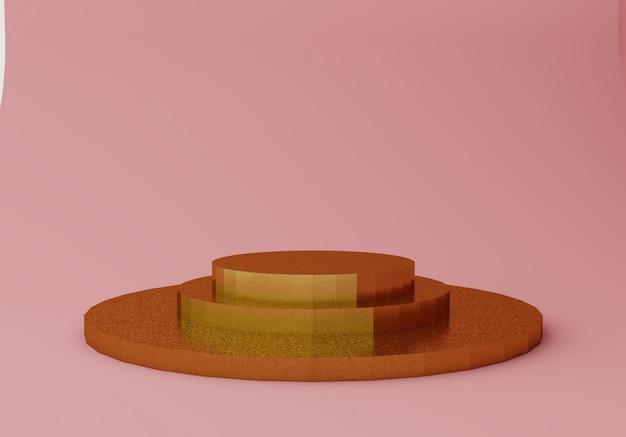 Scène de couleur abstraite rose et or avec des formes géométriques