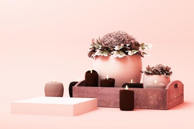 Scène de couleur rose pastel de forme géométrique abstraite minimale avec décoration et accessoire, conception pour podium d'affichage cosmétique ou produit rendu 3d