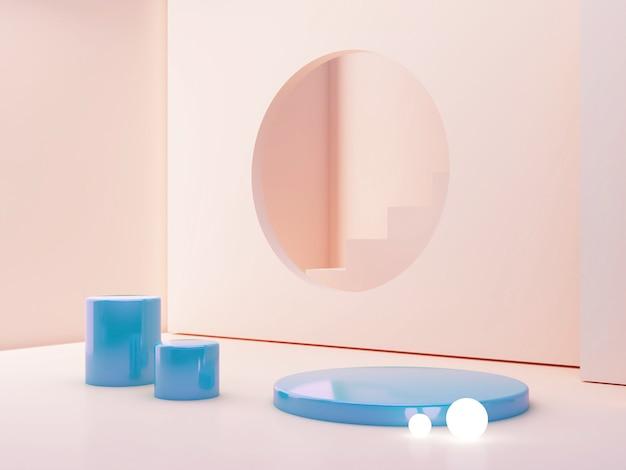 Scène de couleurs pastel avec des formes géométriques et un podium cylindrique en plastique bleu.