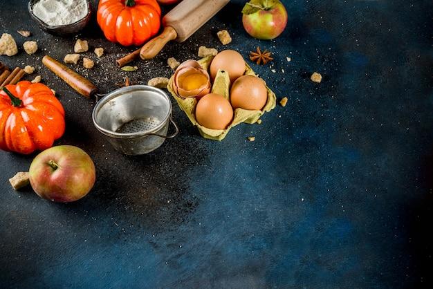 Scène de cuisson à l'automne doux avec des ingrédients et des ustensiles