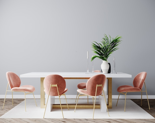 Scène de design d'intérieur de salon avec chaise rose, table et mur gris vide, intérieur de la pièce maquette, fond intérieur de la pièce vide