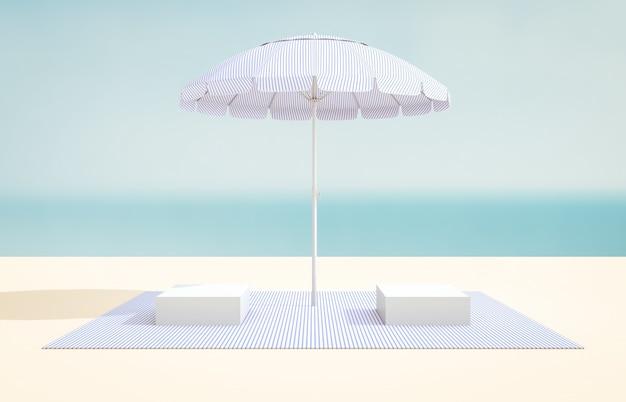 Scène d'été avec boîte de cube pour l'affichage du produit