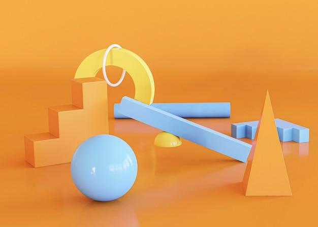 Scène de fond géométrique 3d abstrait