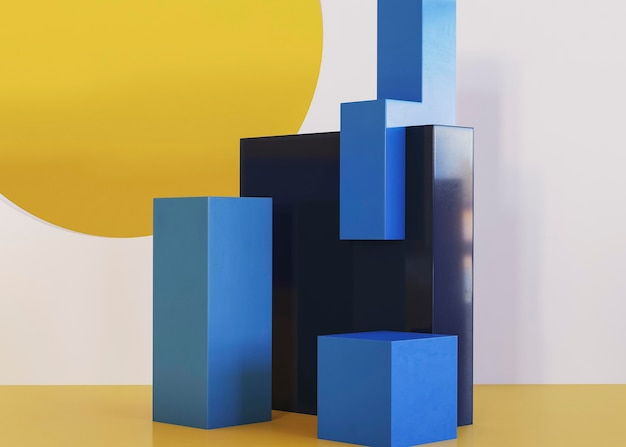 Scène de fond géométrique en trois dimensions