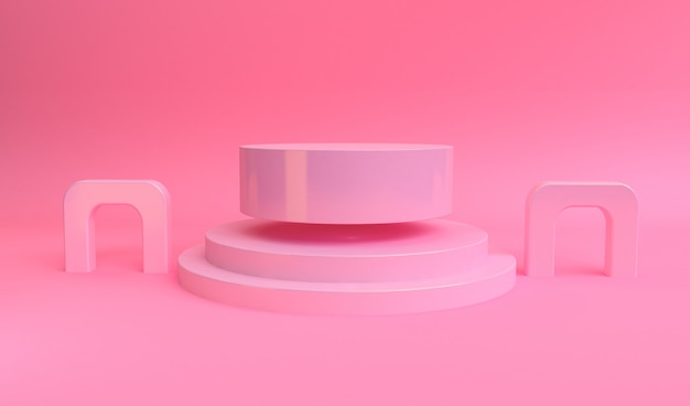 Scène de forme géométrique style minimal, rendu 3d.
