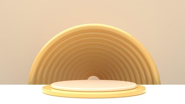 Scène avec des formes géométriques brillantes dans des tons champagne pour l'affichage du produit