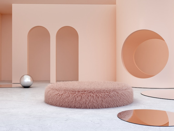 Scène avec des formes géométriques pour montrer des produits cosmétiques.