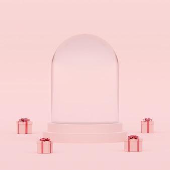Scène de globe en cristal vide de couleur pastel avec des cadeaux, rendu 3d