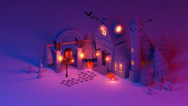 Scène d'halloween de rendu 3d isométrique.