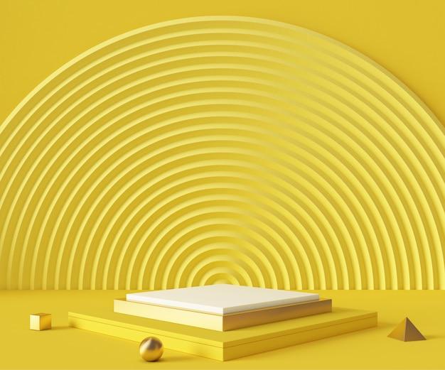 Scène de maquette de fond de podium de rendu 3d. géométrie abstraite forme couleur pastel.