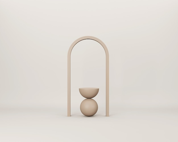 Scène minimale 3d abstraite avec des formes géométriques beiges sur fond beige clair