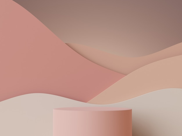 Scène minimale abstraite 3d de l'affichage du podium pastel et de la présentation des produits cosmétiques