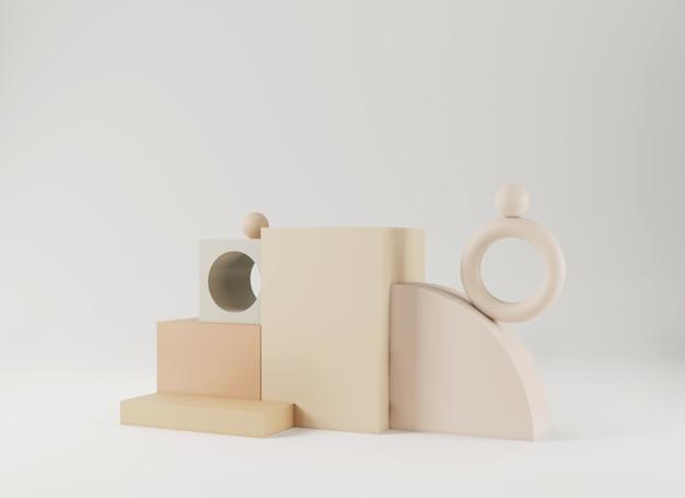 Scène minimale abstraite avec des formes géométriques affichage podium vide sur fond minimal conception pour la présentation du produit rendu 3d