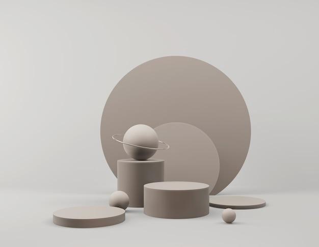 Scène minimale abstraite avec des formes géométriques affichage podium vide sur fond minimal conception pour la présentation du produit rendu d