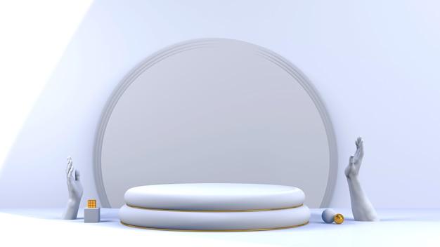 Scène minimale abstraite avec des formes géométriques. podium cylindrique avec une présentation du produit., le piédestal de la scène ou de la plate-forme