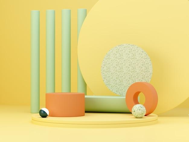 Scène minimale abstraite avec des formes géométriques. podiums cylindriques aux couleurs jaune, vert et orange. abstrait. scène pour montrer des produits cosmétiques. vitrine, vitrine, vitrine. rendu 3d.