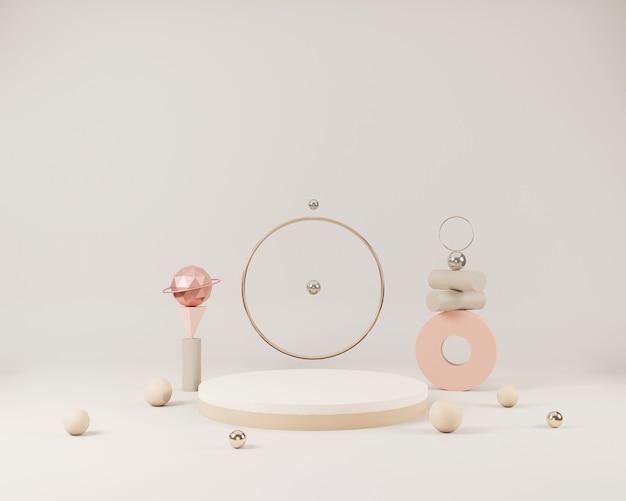 Scène minimale abstraite avec des formes géométriques