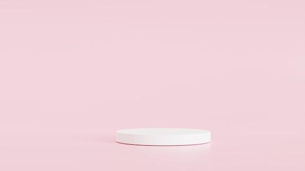 Scène minimale et blanche, fond rose de produits, pour la conception de bannières de produits cosmétiques ou de tout produit. illustration de rendu 3d