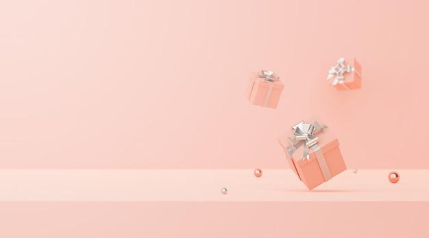 Scène minimale de boîte de cadeaux de couleur pastel sur fond rose rendu 3d