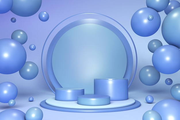 Scène minimale de formes de couleur pastel 3d avec des formes géométriques podiums de cylindre bleu sur fond avec des boules à bulles